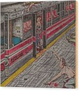 Zombies On The Red Line Wood Print by Richie Montgomery