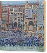 Zoom On St Marks Square Venice Italy Wood Print