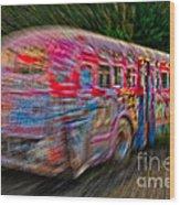 Zooming Graffiti Bus Wood Print