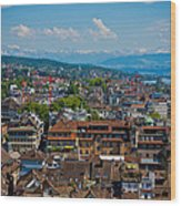 Zurich From The Grossmunster Wood Print