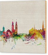 Zurich Switzerland Skyline Wood Print