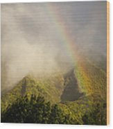A Rainbow Shines Over The Rugged Wood Print