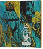 3 Caged Birds Grunge Wood Print