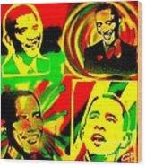 4 Rasta Obama Wood Print by Tony B Conscious