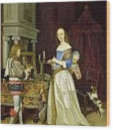 A Lady At Her Toilet Wood Print by Gerard ter Borch