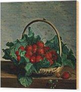 Basket Of Strawberries Wood Print