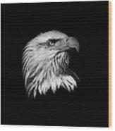 Black And White American Eagle Wood Print
