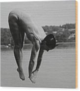 Dive Lake Jump  In The Late  Ninetieth  Wood Print