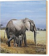 Elephant And Her Child Wood Print