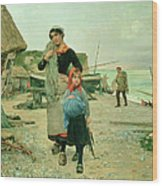 Fisherfolk Returning With Their Nets Wood Print