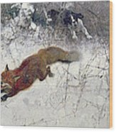 Fox Being Chased Through The Snow  Wood Print by Bruno Andreas Liljefors