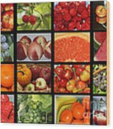 Fruits Collage Wood Print