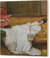 Girl In A White Dress Resting On A Sofa Wood Print