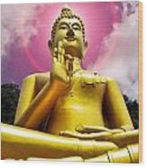 Golden Love Buddha Wood Print