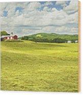 Hay Harvesting In Field Outside Red Barn Maine Wood Print