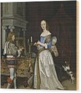 Lady At Her Toilette Wood Print by Gerard ter Borch
