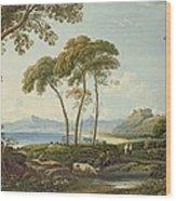 Landscape With Harlech Castle Wood Print