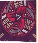 Native American Designs In The Round Wood Print