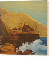 Gathering Of Flowers By The Fishing Cabin Wood Print