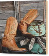 Old Cowboy Boots Wood Print