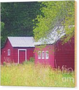 Peaceful Country Barn And Meadow Wood Print