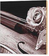 Rose Violin Viola Wood Print