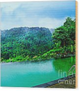 Scenery Of Mount Rinjani Wood Print by Vidka Art