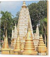 Stupa  Wood Print by Panyanon Hankhampa
