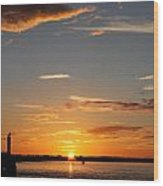 Sunset Over The Sea Wood Print