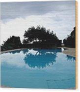 Tree At The Pool On Amalfi Coast Wood Print