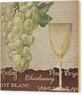 White Wine Collage Wood Print