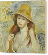 Young Girl With A Straw Hat Wood Print
