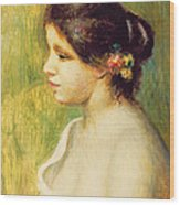 Young Woman With Flowers At Her Ear Wood Print