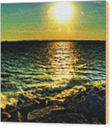 0001 Windy Waves Sunset Rays Wood Print