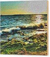 00015 Windy Waves Sunset Rays Wood Print