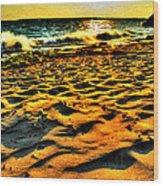 0008 Windy Waves Sunset Rays Wood Print