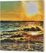 0009 Windy Waves Sunset Rays Wood Print
