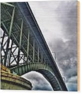 002 Stormy Skies Peace Bridge Series Wood Print