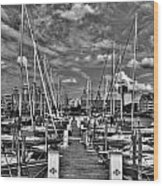 005bw On A Summers Day  Erie Basin Marina Summer Series Wood Print