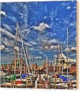 007 On A Summers Day  Erie Basin Marina Summer Series Wood Print