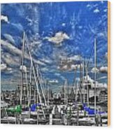 007sc On A Summers Day  Erie Basin Marina Summer Series Wood Print