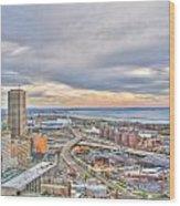 022 Series Of Buffalo Ny Via Birds Eye Downtown Buffalo Ny Wood Print