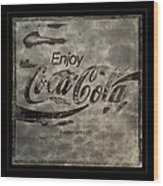 Coca Cola Sign Grungy Red Retro Style Wood Print