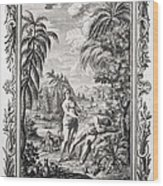 1731 Scheuchzer Creation Adam & Eve Wood Print