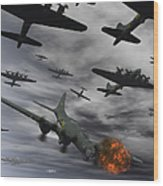 A B-17 Flying Fortress Is Set Ablaze Wood Print