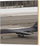 A B-1b Lancer Performs A Touch And Go Wood Print