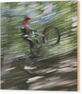 A Boy Flies Through The Air Wood Print