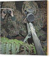 A British Army Sniper Team Dressed Wood Print