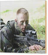 A British Soldier Armed With A Sa80 Wood Print