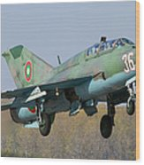 A Bulgarian Air Force Mig-21um Jet Wood Print by Anton Balakchiev